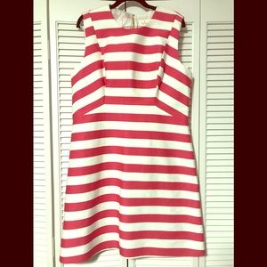 Kate Spade Fit And Flare Pink And White Dress